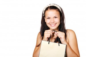 girl shopping with shopping bag