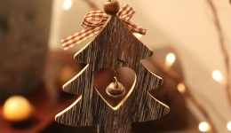 christmas wooden ornaments with bell