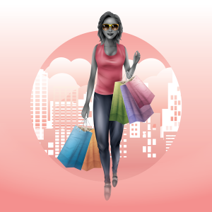 woman shopping with shopping bags