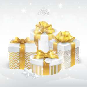 white and gold christmas presents