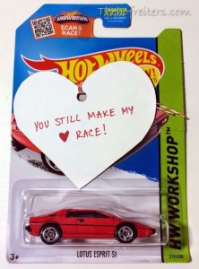 Hot Wheels Car with Valentin's Day Note